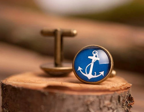 Anchor cufflinks, men cufflinks, antique brass cufflinks, glass dome cufflinks, glass cufflinks, men accessories, gift for men