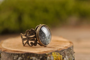 Starry night ring, filigree ring, sparkly black ring, adjustable ring, statement ring, antique brass ring, glass dome ring, ornament ring