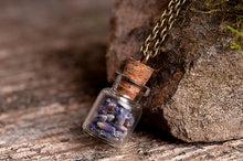 Load image into Gallery viewer, Lavender necklace, lavender seeds necklace, nature necklace, purple necklace, antique brass necklace, glass vial necklace