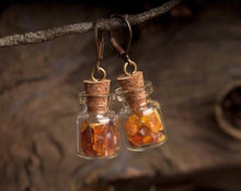 Load image into Gallery viewer, Amber earrings, nature earrings, Baltic amber earrings, amber dangle earrings, antique brass earrings, glass vial earrings, glass earrings