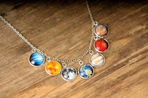 Solar system necklace, gift for women, statement jewelry, space necklace, statement necklace, solar system jewelry, birthday gift for her