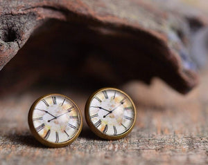 Vintage clock earrings, stud earrings, antique brass earrings, post earrings, glass earrings, antique bronze / silver plated, jewelry gift