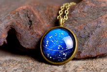 Load image into Gallery viewer, Constellation necklace, galaxy necklace, space necklace, crescent moon jewelry, blue necklace, astronomical necklace, cosmos necklace