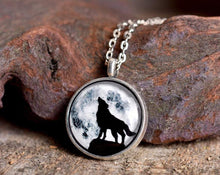 Load image into Gallery viewer, Howling wolf necklace, full moon necklace, night sky necklace, silver necklace, wolf jewelry, wolf necklace, moon necklace, howling wolf