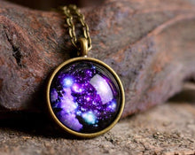 Load image into Gallery viewer, Galaxy necklace, nebula necklace, space necklace, crescent moon jewelry, blue necklace, astronomical necklace, cosmos necklace