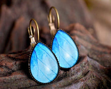Load image into Gallery viewer, Butterfly earrings, butterfly wing earrings, tear drop earrings, dangle earrings, brass earrings, drop blue earrings, glass dome earrings