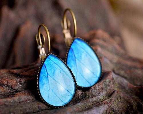 Butterfly earrings, butterfly wing earrings, tear drop earrings, dangle earrings, brass earrings, drop blue earrings, glass dome earrings