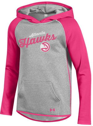 Under Armour Girls Pink Script Hoodie