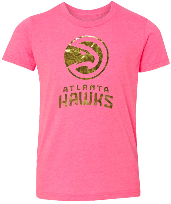 Girls Primary Gold Foil Wordmark Pink Tee