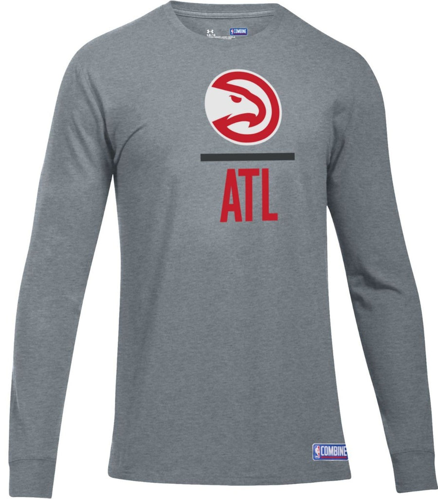 Under Armour Combine Long Sleeve Grey Lockup Tech Tee