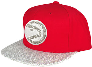 Mitchell & Ness Red Cracked Iridescent Wordmark Snapback