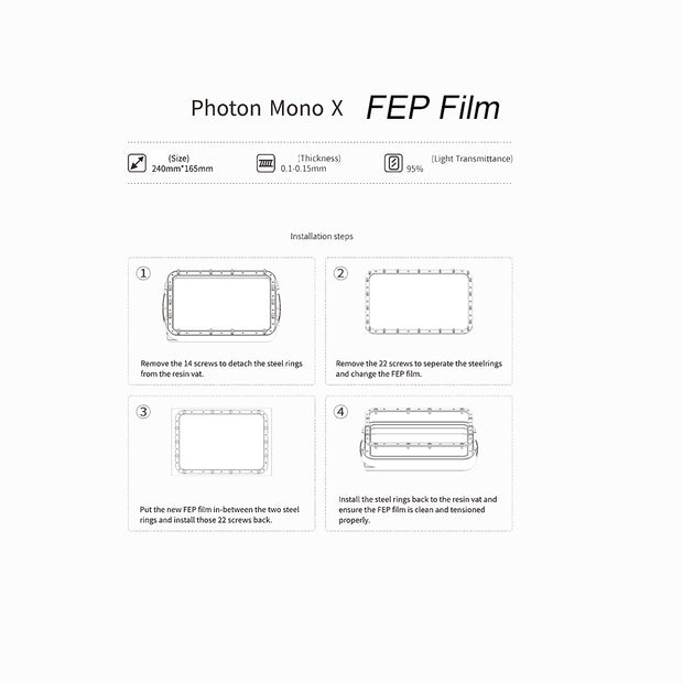 FEP Film for Photon Mono Series SLA/LCD 3D Printer 2 Pcs