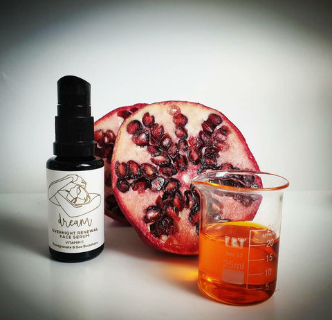 Vitamin C serum, pomegranate oil, natural skincare, organic skin, anti-aging