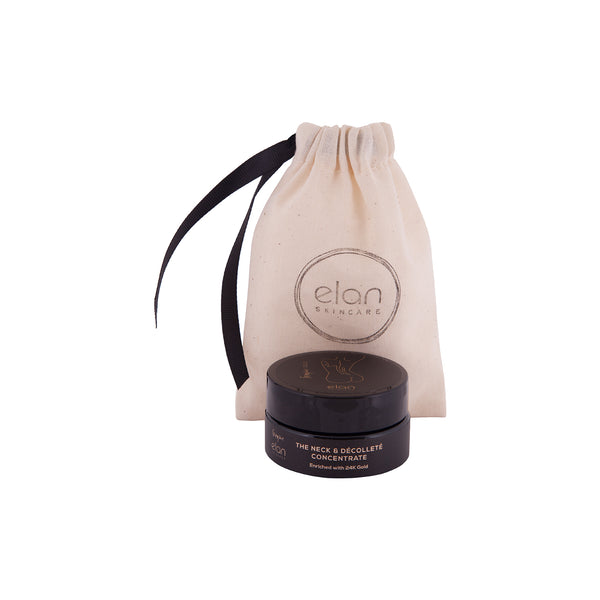 Skin treatment for glowing skin from ELan Skincare. Picture of the Neck and Decollete Concentrate - a natural moisturiser. Vegan skincare gift set.