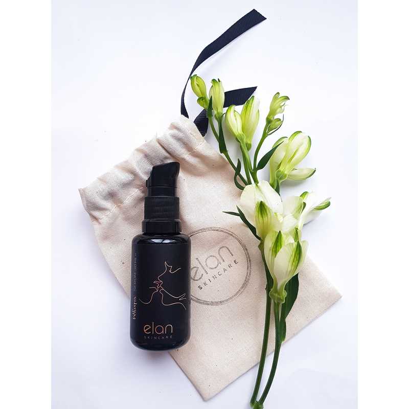 Night serum organic face oil from Elan Skincare with cotton bag and flower