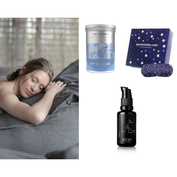 Sleep & recharge with wellbeing set of spacemasks, magnesium supplements and Whisper Night Serum