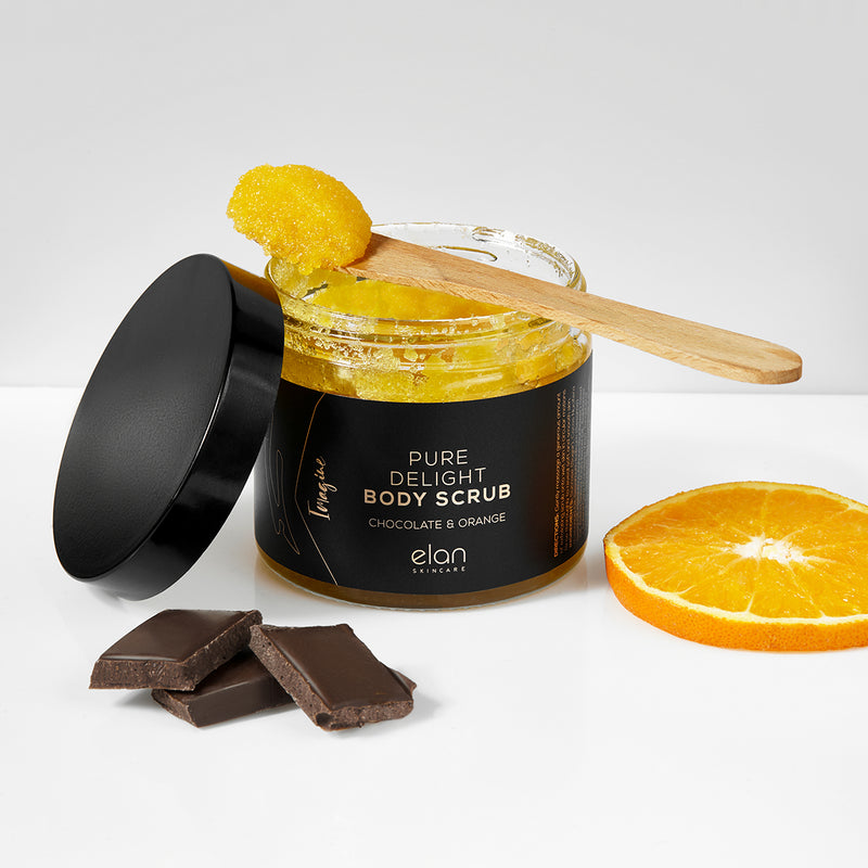Chocolate and orange body scrub sugar based from Elan Skincare
