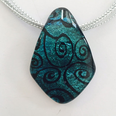 Teal Swirls Energy Therapy Pendant