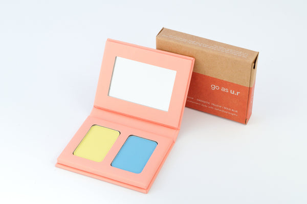 Bright eyeshadow energetic yellow-bold blue