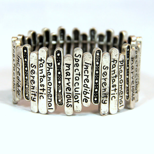 'Positive Infinity' Engraved Silver Lining Metal-Art Stretch Bracelet