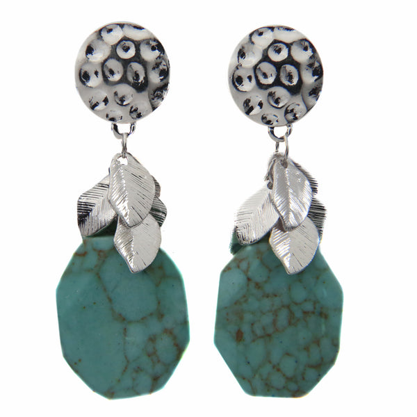 Boho Hammered Blue Rock Ear Candy