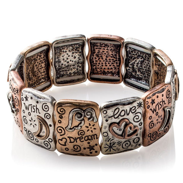 Dream Pillows 'Positive Amen' Metal-Art Stretch Bracelet
