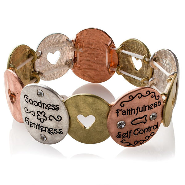 'Encircled Positivity' Metal-Art Stretch Bracelet