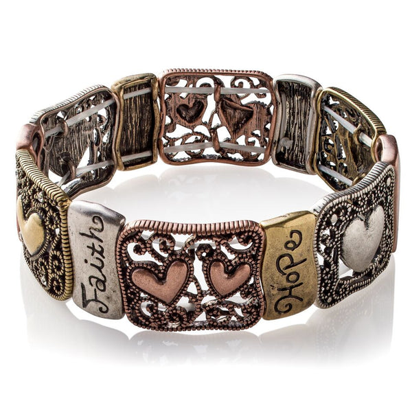 Zippered Hearts 'Positive Hug' Metallic Plates stretch Bracelet