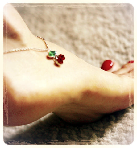 VALENTINE LIMITED EDITION 'Cherry Charm Drop' Anklet.