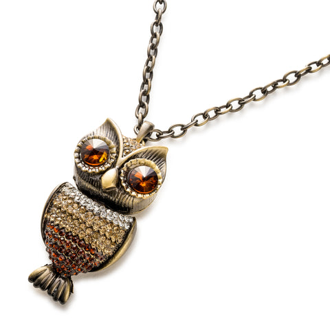 'Gypsy Gem Encrusted Owl' Neck Lanyard. Traditional Owl Necklace Revamped!
