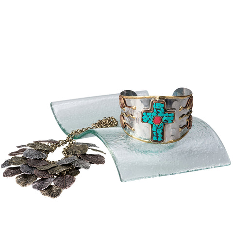 'Under the Tree' Cross Culture Gift Set. Cross Bangle, Metal-Art Leaf Necklace & Earrings, on a Tea Candle Home Decor Centerpiece