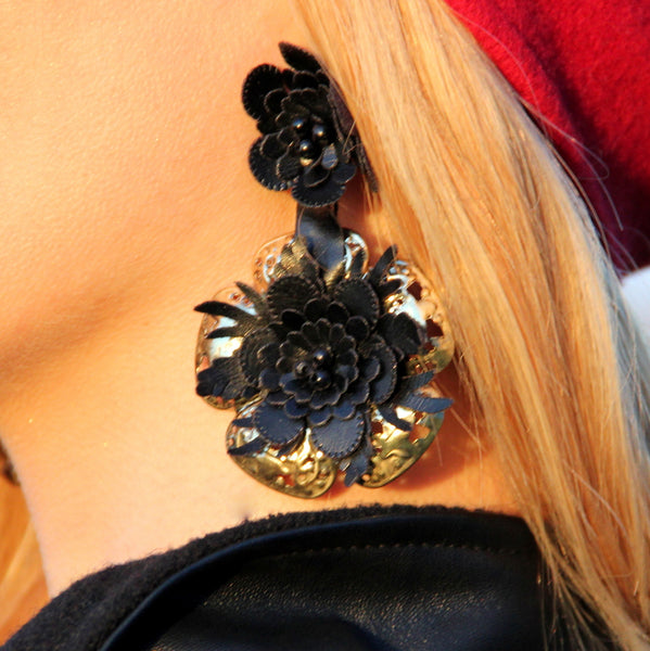 Black Floral Bombshell Ear Candy.