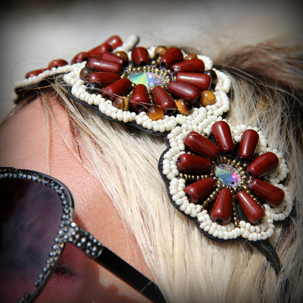 Hand-Beaded 'Flower Child' Hair Gear