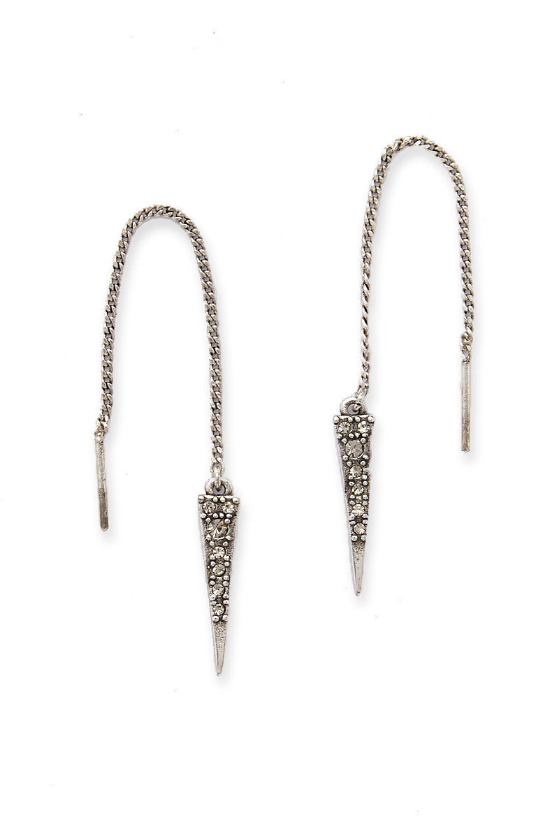 LUV AJ The Pave Spike Thread Earrings Accessories | Silver| LUV AJ Pave Spike Threaded earrings