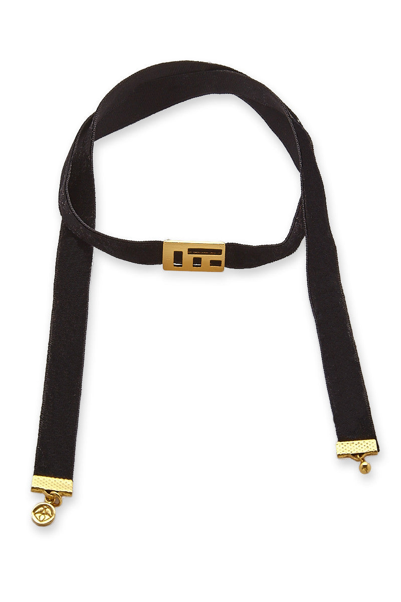 Velvet Abelia Choker Necklace - Black/Gold