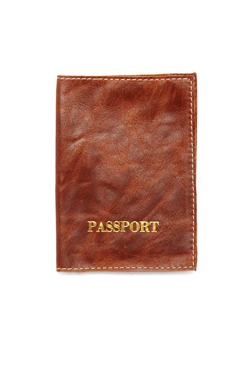 Passport Cover - Caramel Brown/Gold