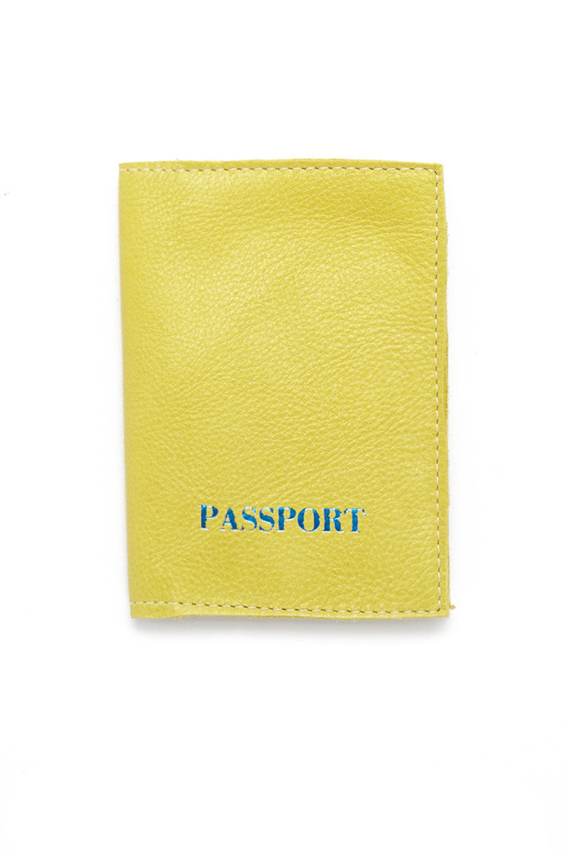 Chartreuse Passport Cover - Chartreuse/Blue