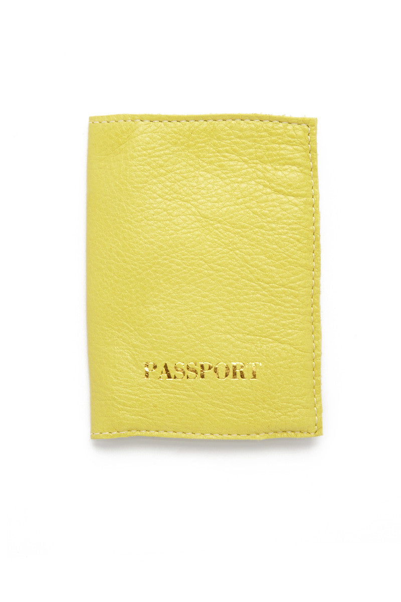 Passport Cover - Chartreuse Yellow/Gold
