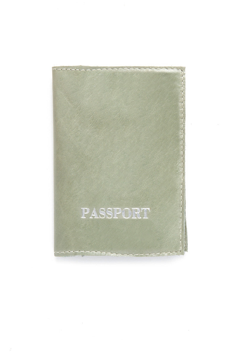 Pearl Green Passport Cover - Silver