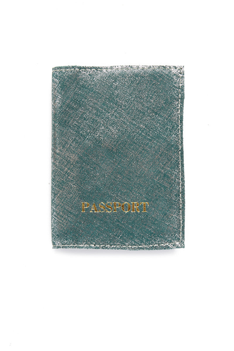 Passport Cover - Metallic Blue/Gold