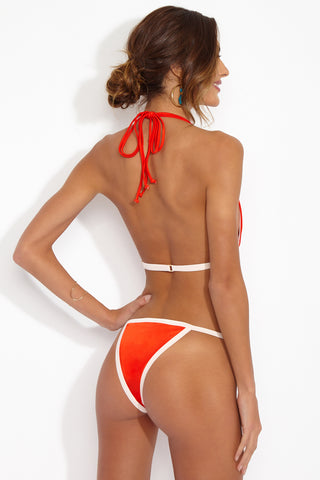 HOT AS HELL Haht Seat Bottom Bikini Bottom | Blood Orange| Hot As Hell Haht Seat Minimal Bottom Back View  Thin Side Straps  Minimal Front Coverage Color Blocked Outline  Thong Coverage