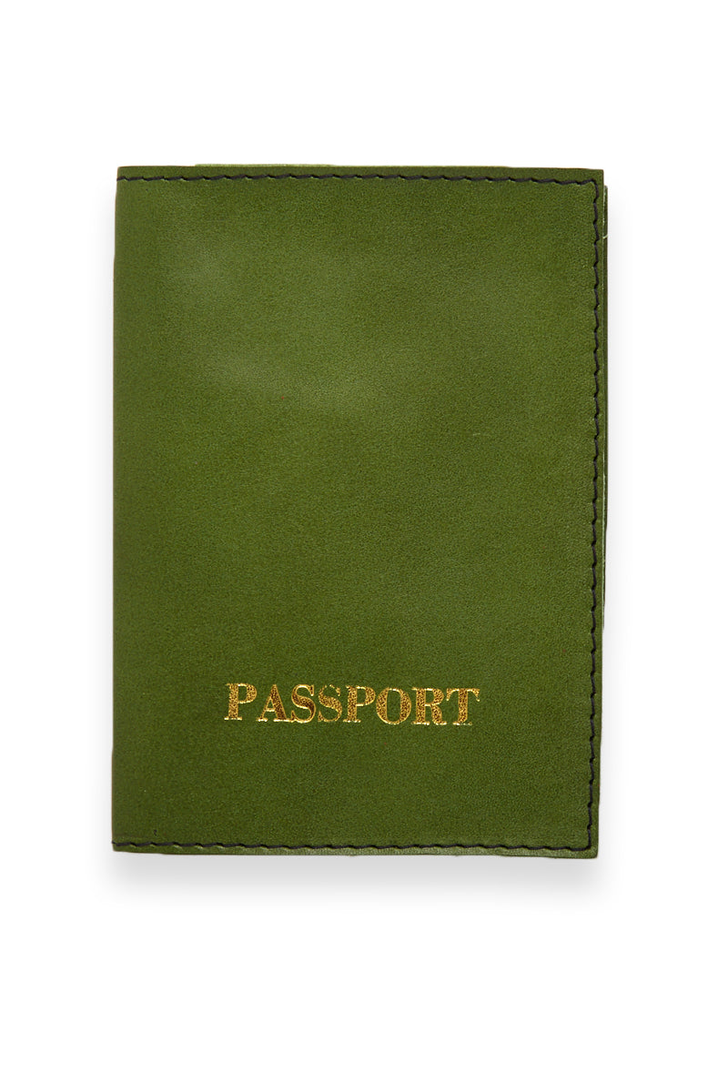 Green Passport Cover - Green/Gold