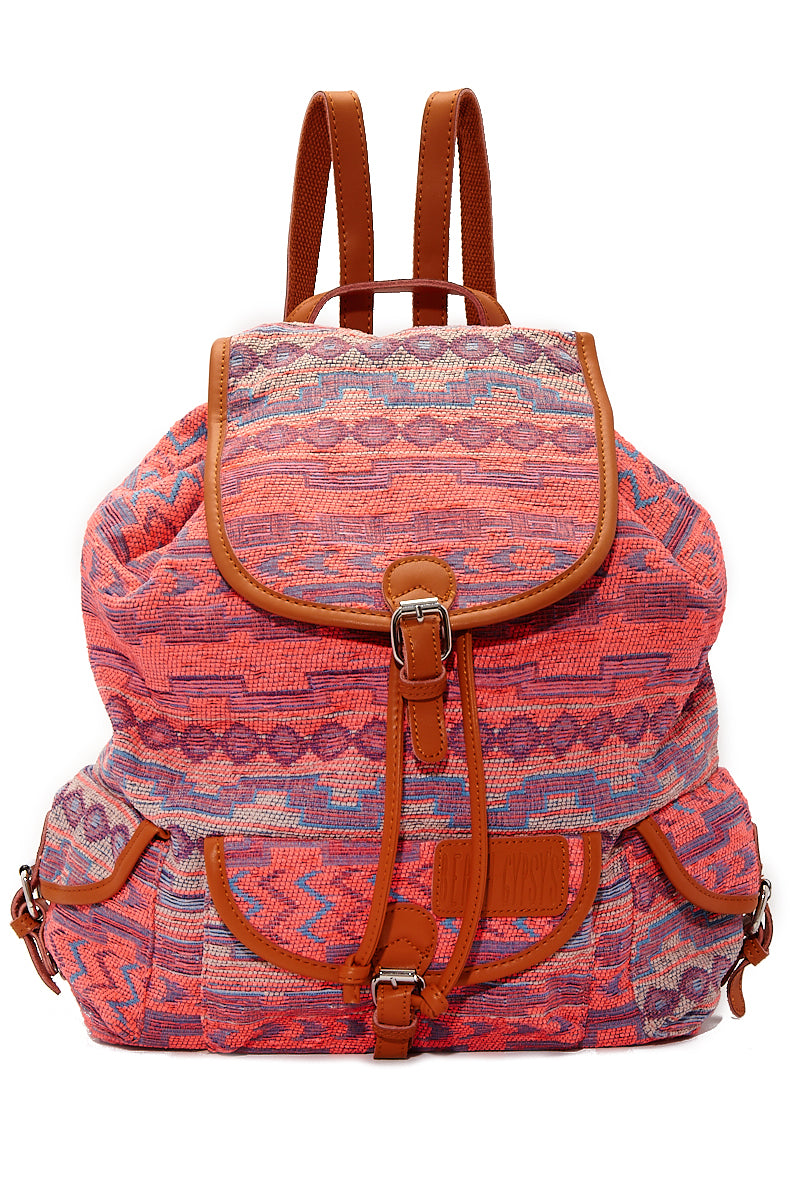 Large Bohemian Jacquard Backpack - Sunset Pink Aztec Print
