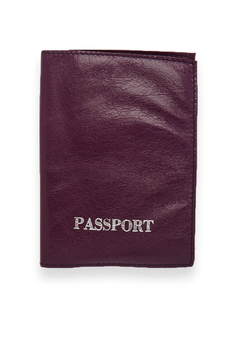 Passport Cover - Mulberry Purple/Silver