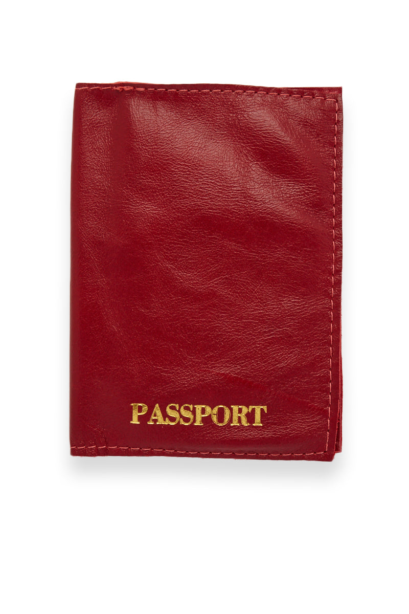 Red Passport Cover - Red/Gold