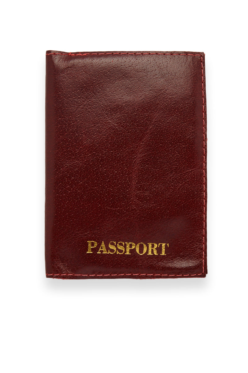 Passport Cover - Burgundy Red/Gold