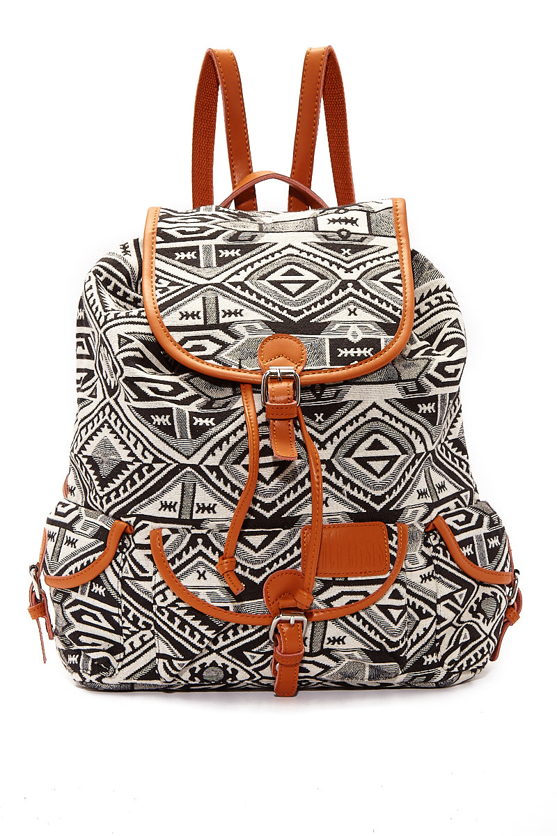 Large Bohemian Jacquard Backpack - Black & White Geometric Print
