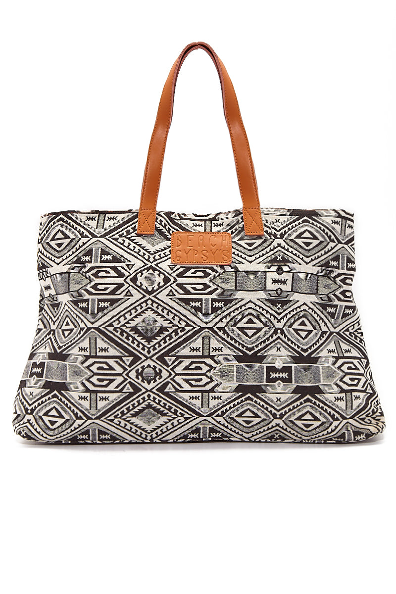 Oversized Jacquard Beach Tote - Black & White Geometric Print