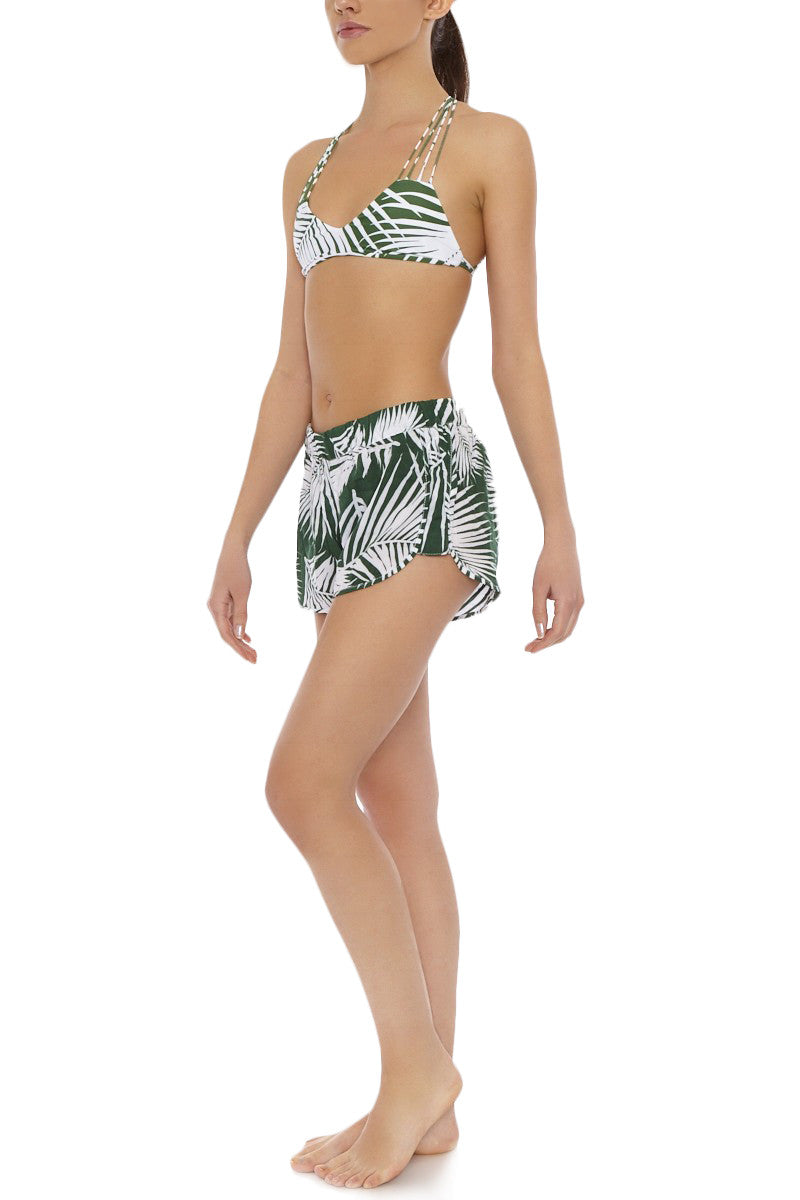 Saint Pierre Paneled Side Shorts - Forest Green Botanical Palm Print