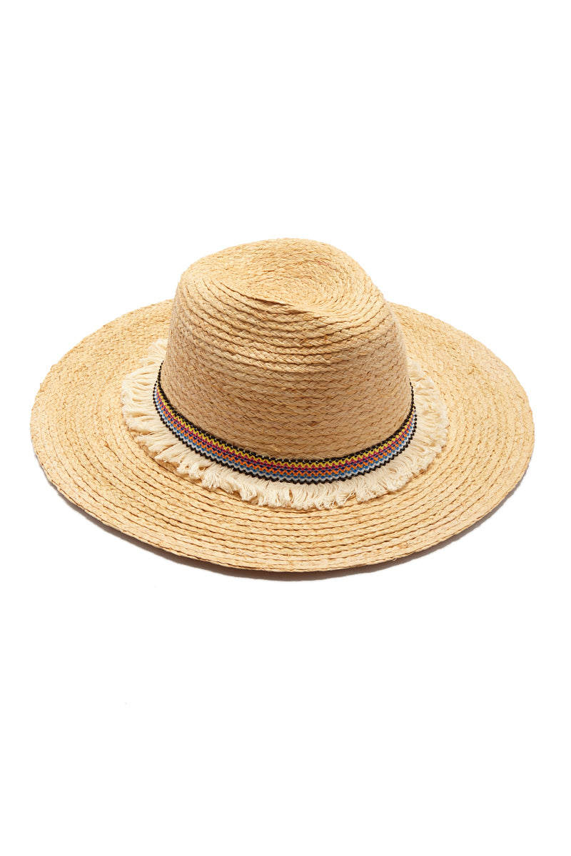 Raffia Braid Continental Straw Sun Hat - Natural